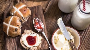 Afternoon tea hot cross buns Easter