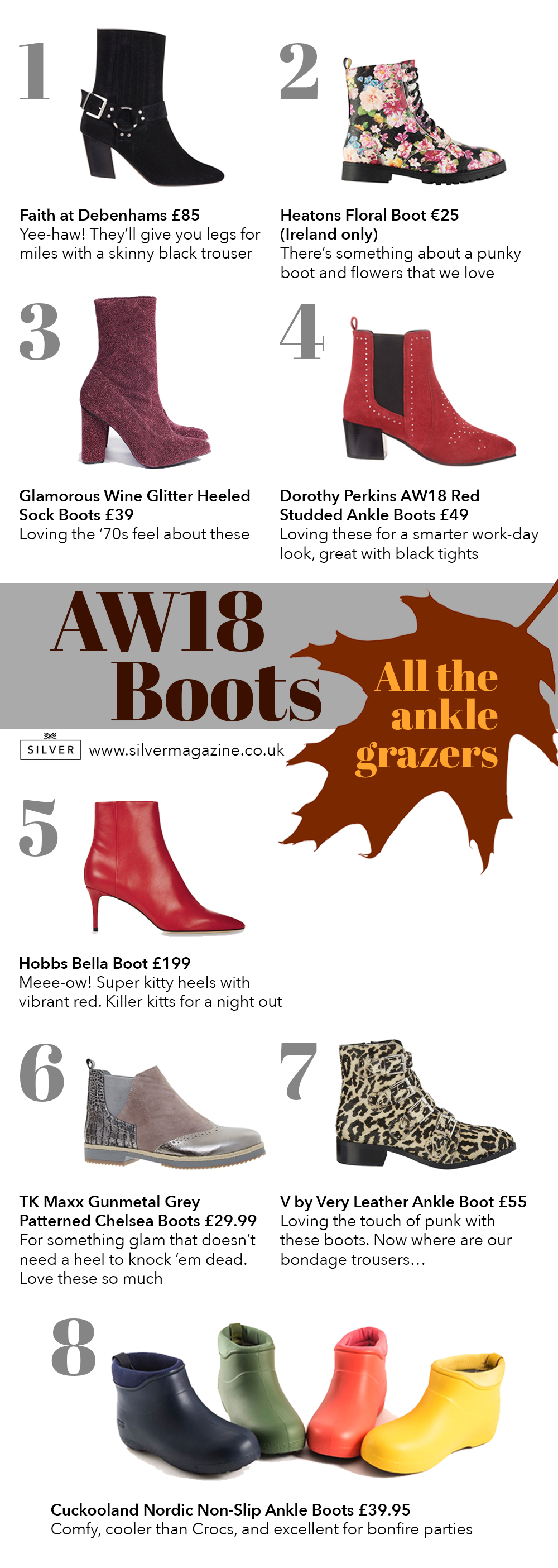 Boots Fashion Page Autumn boots AW18 Silver Magazine www.silvermagazine.co.uk