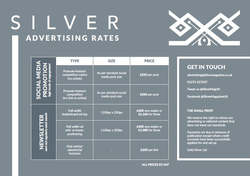 Silver Magazine rates card prices Page 2 www.silvermagazine.co.uk
