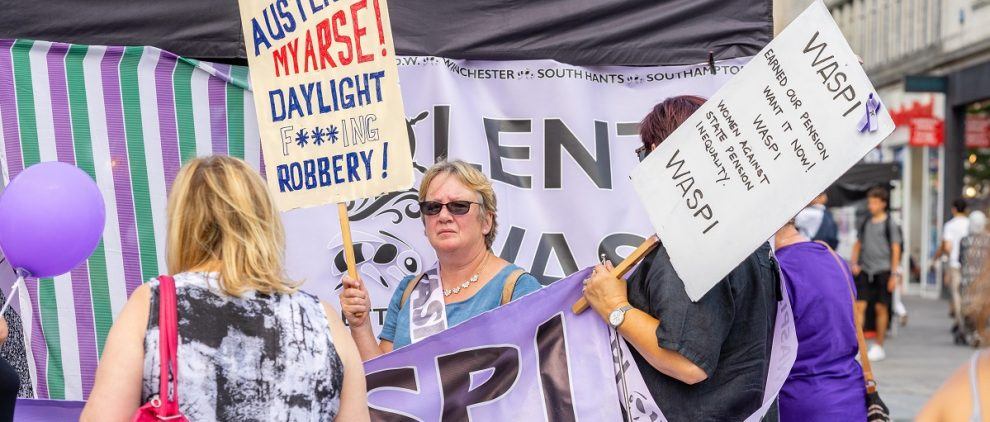 WASPI women protesting - pensions swindle on Silver Magazine www.silvermagazine.co.uk