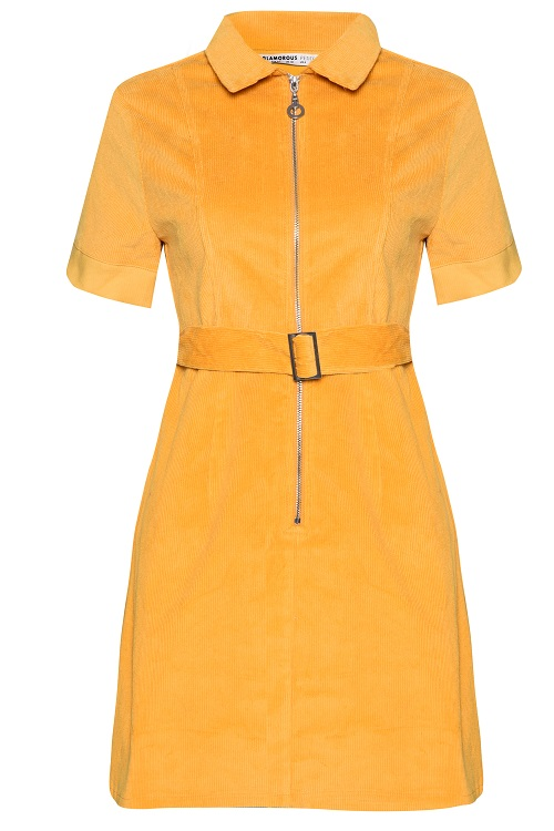 Glamorous Mustard Corduroy Zip Front Belted Dress £36 fashion feature Silver Magazine www.silvermagazine.co.uk