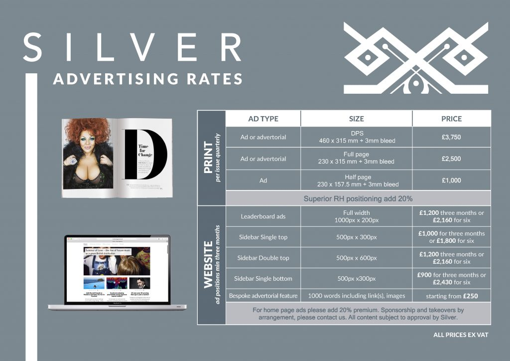 Silver Magazine advertising rates March 2020 www.silvermagazine.co.uk