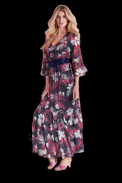 Kaleidoscope Bell Sleeve Maxi Dress with Metallic Thread - £79