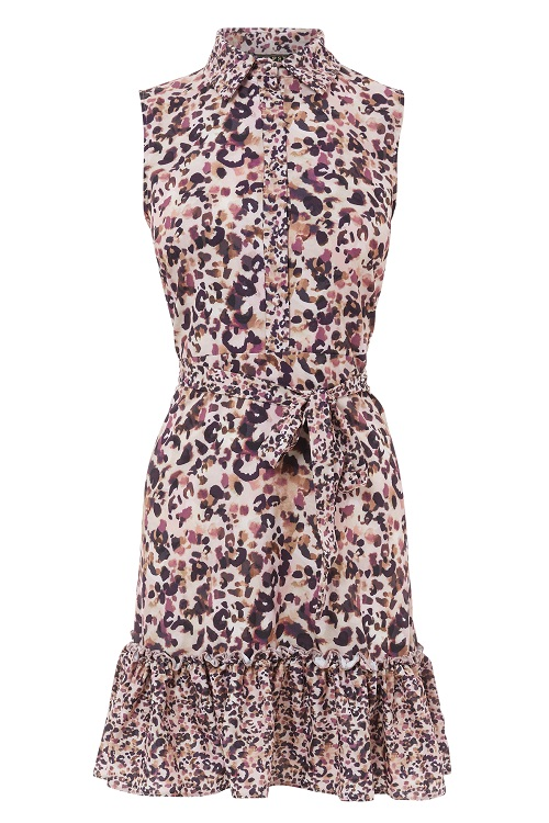 Lipsy Sleeveless Tiered Animal Shirt Dress £39