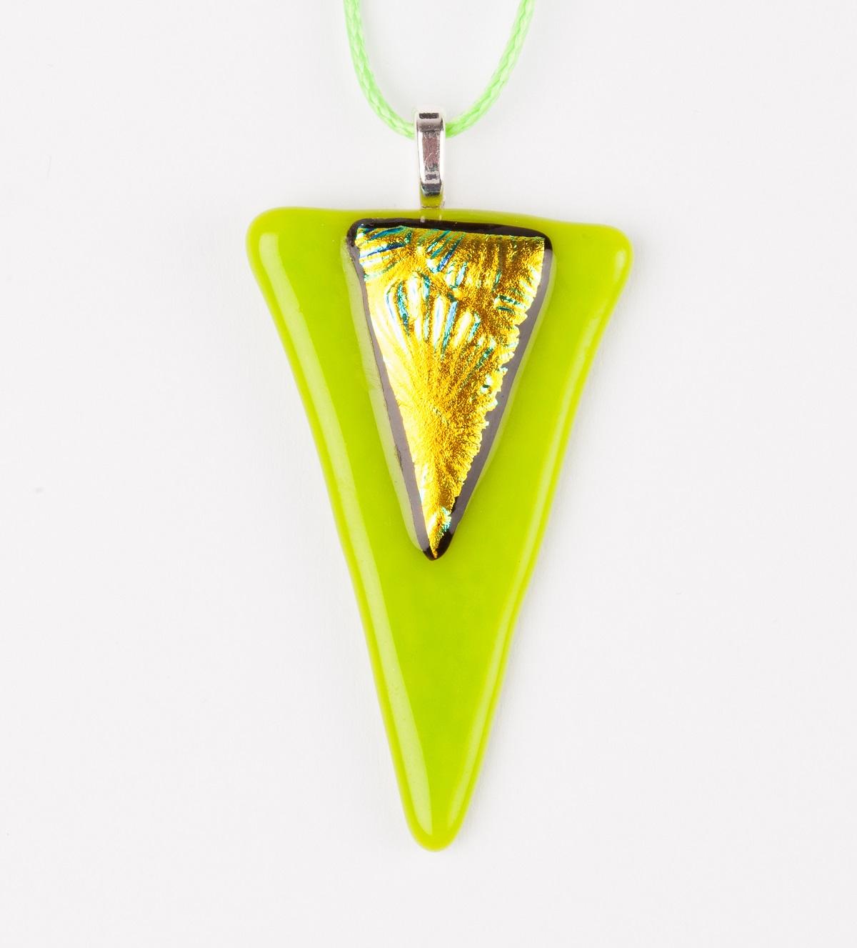 16. Lime Green Triangular Glass Pendant