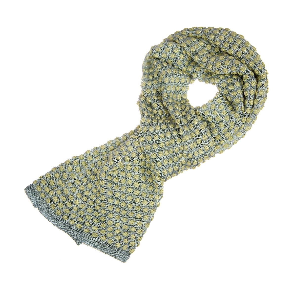5. Silk and Viscose Hand Dyed Bobble Scarf in Dusty Blue _ Yellow